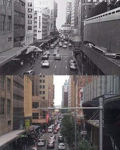 Looking west along Market St from the pedestrian bridge, 1970 & 2017. Photo: Phil Harvey #history #sydney http://fat.ly/c24e (Instagram Image from @beliefmedia, 2nd February 2017 6:08pm).