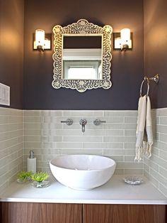 Like the white sink Glass Tile Bathroom, Small Bathroom, Tile Mirror, Bathroom Mirrors, Tiny Bathrooms, Wall Tile, Glass Subway Tile, Glass Tiles, Basement Bathroom