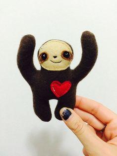 Tiny brown sloth plush toy - Cute, small happy sloth stuffed animal - child, boyfriend, girlfriend gift - handmade pocket friend