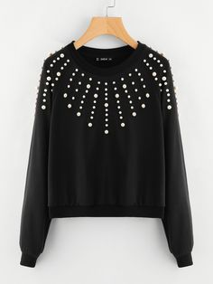 SheIn offers Pearl Embellished Raglan Sleeve Sweatshirt & more to fit your fashionable needs. Casual Outfits, Cute Outfits, Pullover Designs, Crochet Shirt, Sweatshirts Online, Raglan, Diy Clothing, Winter Looks, Cute Tops