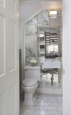 Powder room mirrors - The right decoration makes a small ladies' toilet a desirable area. The powder room, often called a half bath, varies from a standard bathroom as it only has a sink and toilet. Bathroom Mirror Makeover, Bathroom Mirrors Diy, Downstairs Bathroom, Mirror Vanity, Diy Vanity, Wooden Bathroom, Budget Bathroom, Master Bathroom, Mirror Kit