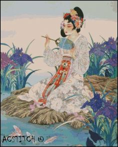 GEISHA cross stitch pattern