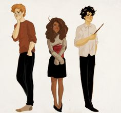 Harry, Ron, and Hermione. Arte Do Harry Potter, Harry Potter Friends, Harry Potter Artwork, Harry Potter Drawings, Harry Potter Books, Harry Potter Fandom, Harry Potter World, Harry Potter Memes, Ginny Weasley