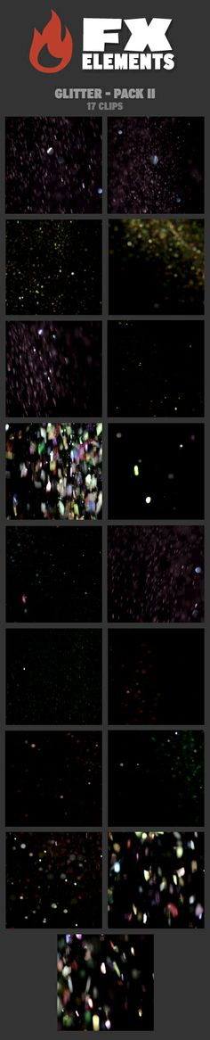 Glitter - Pack II includes 17 FX clips. This pack is full of clips that feature real glitter falling through frame. They are especially great as backgrounds for titles or fantastical effects. The glitter in this pack is colorful (pink/purple, green, red, multicolor) and varies in shape. • All clips delivered with a separate corresponding alpha file • 17 clips horizontal 2K resolution (2048 × 1556) • ProRes 422 Quicktime files