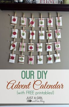 She gives you all of the printables you need to make a super simple (and pretty) advent calendar to use with your kids! SO cute! | Just a Girl and Her Blog