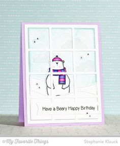 Cool Day stamp set and Die-namics, Flat Bottom Clouds Die-namics, Sequins Die-namics, Square Grid Cover-Up Die-namics, Stitched Snow Drifts Die-namics - Stephanie Klauck #mftstamps
