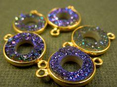 Druzy Druzzy Drusy Purple Round Open Station by jewelersparadise, $11.25