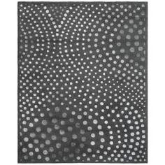 Handmade Soho Deco Wave Dark Grey N. Z. Wool Rug (9'6 x 13'6)