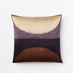 Ikat Moon Silk Pillow Cover - Slate   west elm