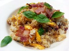 """LG FRIED RICE (CHEESY BASIL BACON AND EGGS)! """"MY VERSION ~  ~ GREAT FLAVOUR AND DELICIOUS ~ ( FUSION DISH ) ~ EAST MEET WEST  ~  ~ LOVING IT""""  @allthecooks #recipe"""