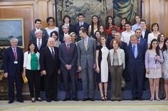 King Felipe VI of Spain and Queen Letizia of Spain attend several audiences at the Zarzuela Palace on May 18 2015 in Madrid Spain