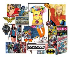 """Weekend at Comic-con"" by zeepanda ❤ liked on Polyvore featuring Marvel, Chronicle Books, Hot Topic, C&D Visionary, Marvel Comics, Retrò, Disney, Veja, Jefferies Socks and Converse"