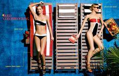 Britt Maren, Michaela Kocianova Model Swimwear in Neiman Marcus Shoot by Nick Prendergast