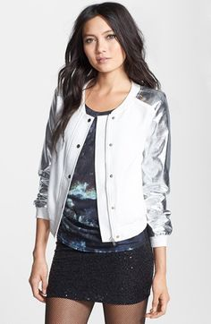 Faubourg du Temple Metallic Sleeve Bomber Jacket available at #Nordstrom - I love this jacket!
