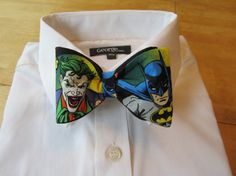Bow tie made from Batman and Joker Fabric. $29.99, via Etsy.  I need this so bad!