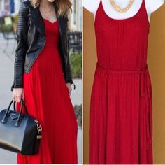 RED SPAGHETTI STRAP MAXI DRESS W/BELT Maximum! Stand out and be comfortable in the full length adjustable strap maxi. Features elastic waist and a matching belt. Pair this with sandals. Pic one is courtesy of Google and is only an example. -No trades. Old Navy Dresses Maxi