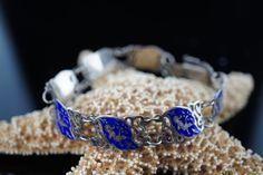 Vintage Art Deco Sterling silver  bracelet  blue violet Modernist  Siam Thailand Sterling Silver Bracelet Sterling Silver Bracelet 925 q74 by VintageEstate86 on Etsy
