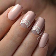 24 Wedding Nails, Inspiration For Every Bride - weddingtopia White Nail Designs, Pretty Nail Designs, Nail Art Designs, Nails Design, Pink Nails, Gel Nails, Acrylic Nails, Nail Polish, Nail Nail