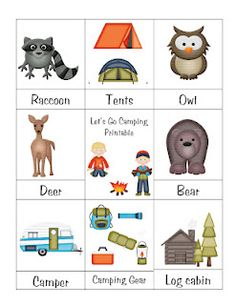 Camping theme printables, mostly games for toddlers
