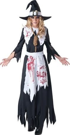 Salem Witch Adult Costume This costume includes dress, apron, collar, hat and sculpted noose. Does not include shoes. Weight (lbs) 1.14 Length (inches) 17 Width (inches) 11 Height(inches) 2 Adult Costumes Multi-colored Large Everyday Female Adult