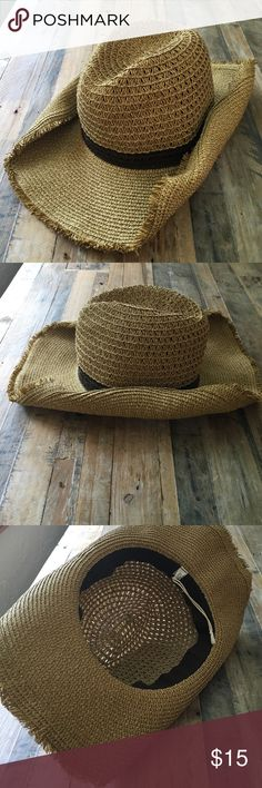 Straw colored cowboy hat Straw colored cowboy hat with brown accent around crown Target Accessories Hats
