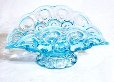 This is a blue opalescent banana bowl in the Moon and Stars pattern made by L E Smith. It measures 9 inches long by inches high and is marked with the S in a circle mark. This bowl is in very nice Mine is amber, Janet bought it for my bday ~j Yard Sale Finds, Banana Boat, Crystal Glassware, Antiques For Sale, Vintage Glassware, Glass Collection, Star Patterns, Stars And Moon, Pattern Making