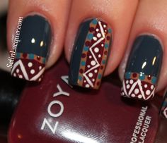 Tribal nail art with Zoya shades use: Purity, Flynn, Breezi, Natty and Toni -  also used a nail art brush and a dotting tool.