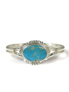 Apache Blue Turquoise Bracelet by John Nelson - Native American Turquoise Jewelry from Southwest Silver Gallery.com