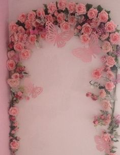 Little girls bedroom , rose butterfly arch Shabby chic ,Whimsical fairy ,Flower garden princess DIY perfect for putting a life size fairy in / arched mirror / dressing table/ finish with fairy lights created by me -)