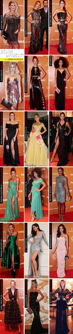 """Looks de gala do evento da Glamour: O brilho veio forte, tanto em vestidos com bordados que reluziam com a luz, quanto com paetês. Teve brilho com """"efeito molhado"""". O decote ombro a ombro fez sucesso, assim como a cor verde!"""