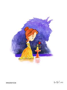 Beauty and the Beast Watercolor by BenByrdArtwork on Etsy