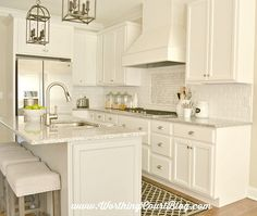 A classic kitchen backsplash - love this kitchen and these barstools (from Target)