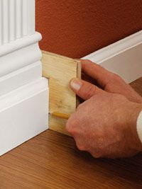 Installing baseboards. Includes some nice tips including this one: Use notched plywood to mark baseboard (image)