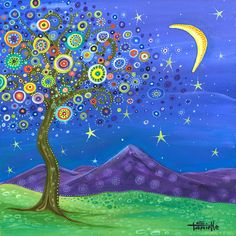 Dreaming Tree Painting - Believe In Your Dreams by Tanielle Childers