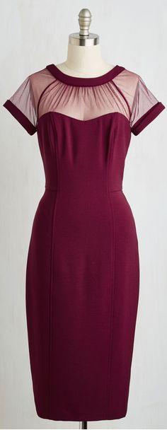 sheer yoke wine red dress