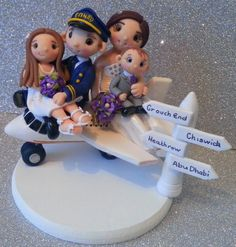 Plane Family Cake topper by Tinylove Toppers http://www.tinylove-wedding-cake-toppers.co.uk/