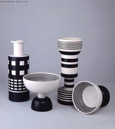 Group pots white / black design Ettore Sottsass