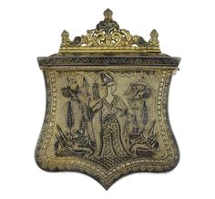 CARTRIDGE POUCH with a niello representation of a female figure between two churches, animals and birds. 19th c. Copper alloy