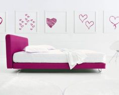 Hot Pink Minimalist Bedroom with hearts