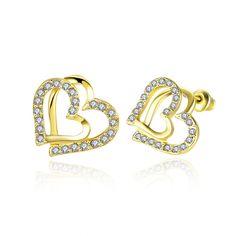 Gold Plated Czech Diamond Heart Shape Stud Earrings