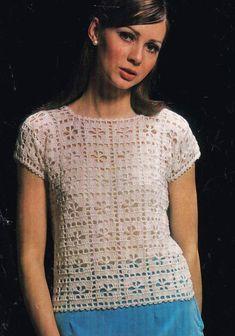 ladies summer top crochet summer wear for ladies vintage pattern PDF in. Débardeurs Au Crochet, Pull Crochet, Crochet Woman, Crochet Cardigan, Crochet Shawl, Summer Wear For Ladies, Handgestrickte Pullover, Crochet Summer Tops, Vintage Crochet Patterns