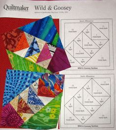 Wild and goosey example Paper Pieced Quilt Patterns, Quilt Block Patterns, Cute Quilts, Scrappy Quilts, Modern Quilt Blocks, Flying Geese Quilt, Sampler Quilts, Patch Quilt, Quilting Projects