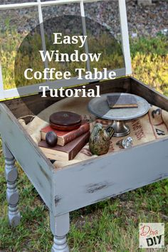 Amazing Coffee Table you can Make with an Old Window This old window coffee table diy is functional and decorative. Bonus: you can display all of your treasures inside the window. This window table is the perfect DIY for a Farmhouse Style! Shadow Box Coffee Table, Window Coffee Table, Window Table, Window Art, Door Tables, Unique Coffee Table, Diy Coffee Table, Diy Table, Coffee Tin