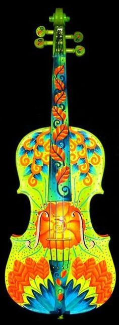 Hand Painted Violin by Elizabeth Elequin. This girl is AMAZING! I want her to paint my violin!