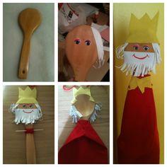 rey mago títere hecho con una cuchara de madera #manualidades #navidad