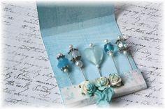 Mini Matchbook Stick Pins Feeling Blue for by LittleScrapShop, $3.99