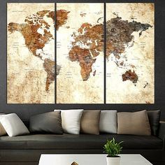 large abstract art set on canvas push pin world map art print, adventure world map home decor, 3 panel wall art stretched wood World Map Canvas, World Map Wall Art, Bedroom Canvas, Canvas Wall Art, World Map Bedroom, 3 Panel Wall Art, Tabletop, Art Gallery, Large Canvas Prints