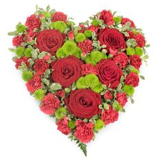 Enduring Love Tribute #love #heart #tribute #roses #redroses #chrysanthemums #sympathy