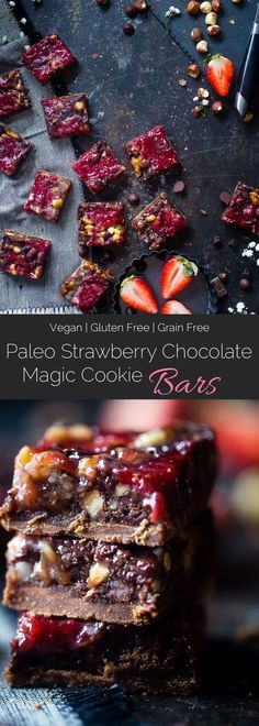 Strawberry Chocolate Paleo Magic Cookie Bars - These magic cookie bars have a sweet strawberry swirl and are SO easy to make! They're a healthy, vegan friendly and gluten free remake of the classic recipe that everyone will love! | Foodfaithfitness.com |