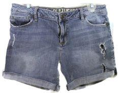 "JEAN SHORTS Destroyed / distressed JR'S 9 BULLHEAD 35"" waist CUFFED 1% spandex #Bullhead #Denim"